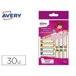 Étiquette avery stylo léopard 50x10mm boîte 30 unités
