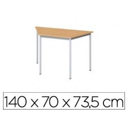 Table polyvalente eol trapézoïdale 140x70cm plateau décor...