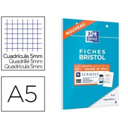 Cahier de fiches bristol 2.0 oxford a5 148x21cm 5x5mm 30...