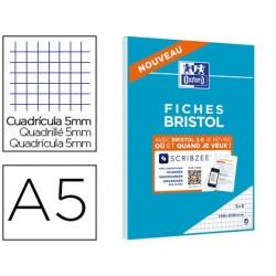 Cahier de fiches bristol 2.0 oxford a5 148x21cm 5x5mm...