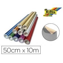 Rouleau papier folia métallisé uni 50cmx10m 2 faces...
