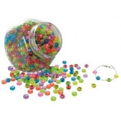 Perle plastique lettres transparentes bocal 1200 unités