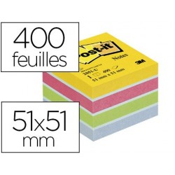 Bloc-notes post-it minis 51x51mm 400f repositionnables...